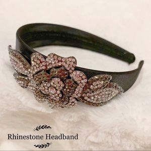 Women Rhinestone Black Satin headband